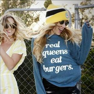 Wildfox Real Queens Eat Burgers Sweater